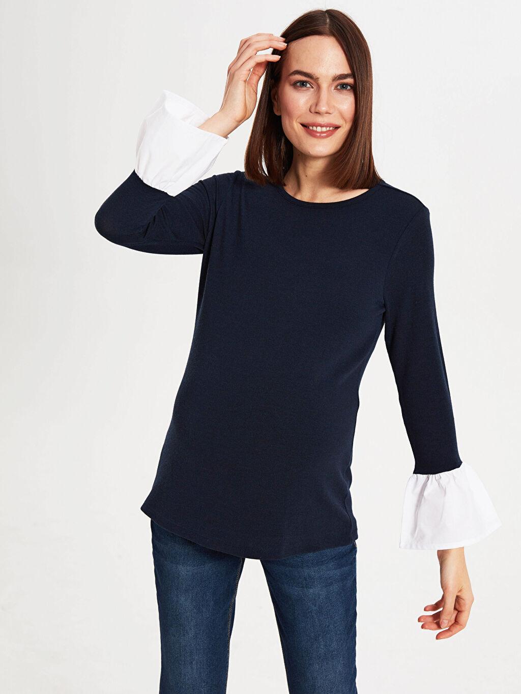 Kadın Hamile Kol Detaylı Tişört