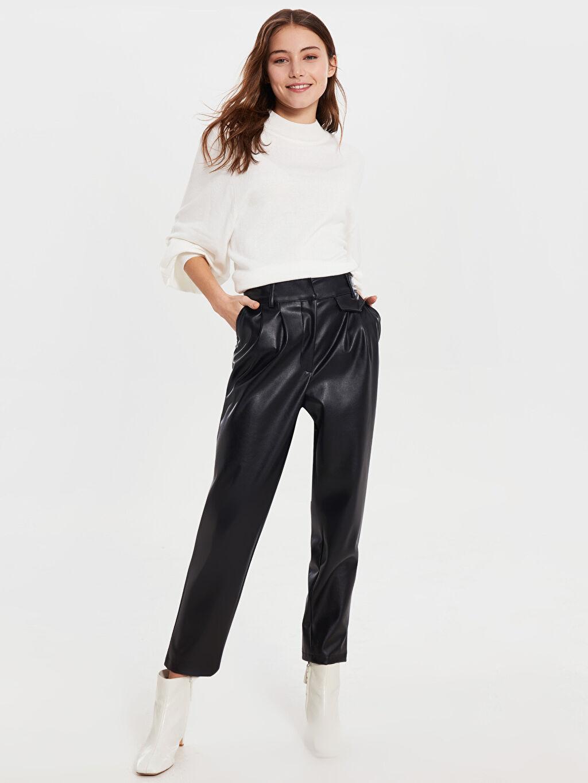 %100 Polyester Çelikli İnterlok Dar Şık Asimetrik Tunik Sateen Bilek Boy Deri Görünümlü Pantolon