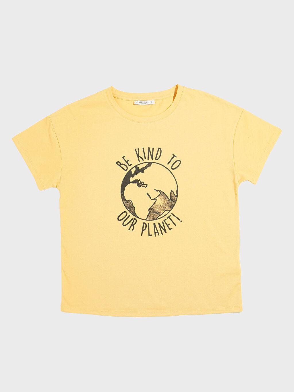 Sarı Doğa Dostu Baskılı Tişört 0SP235Z8 LC Waikiki