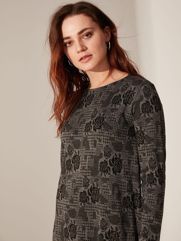 %66 Polyester %30 Viskoz %4 Elastan Elbise Ofis/Klasik Standart Baskılı Astarsız Uzun Uzun Kol A Kesim Kalın Desenli Uzun Esnek Elbise