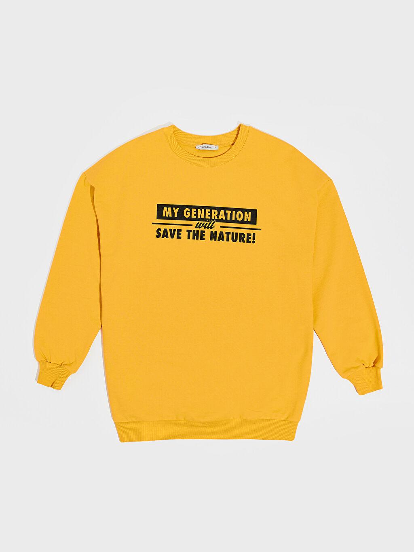 Sarı Baskılı Salaş Sweatshirt 0SR038Z8 LC Waikiki