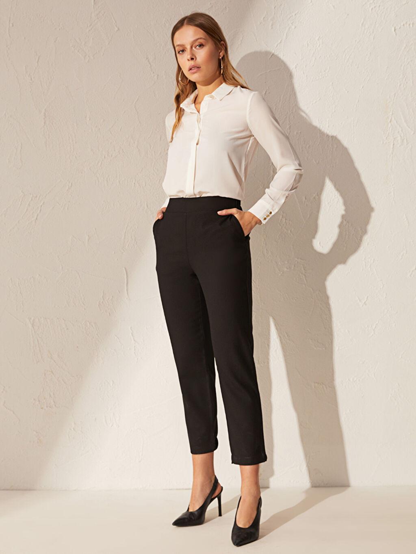 %67 Polyester %30 Viskoz %3 Elastan Orta Kalınlık Yüksek Bel Düz Pantolon Bilek Boy Havuç Pantolon
