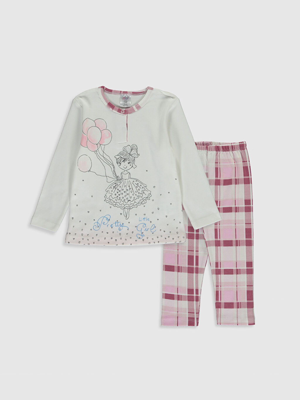 Pembe Luggi Baby Kız Bebek Desenli Pijama Takımı 0SV821Z1 LC Waikiki
