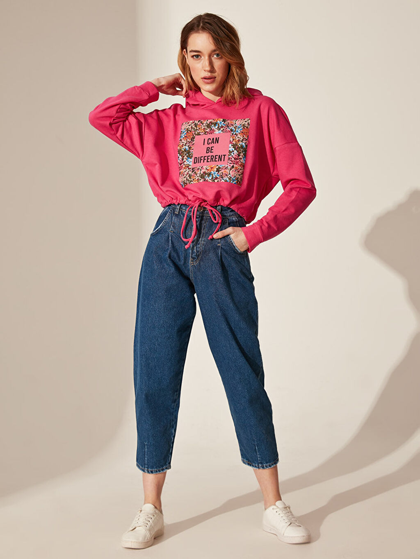 Kadın Quzu Kapüşonlu Baskılı Sweatshirt