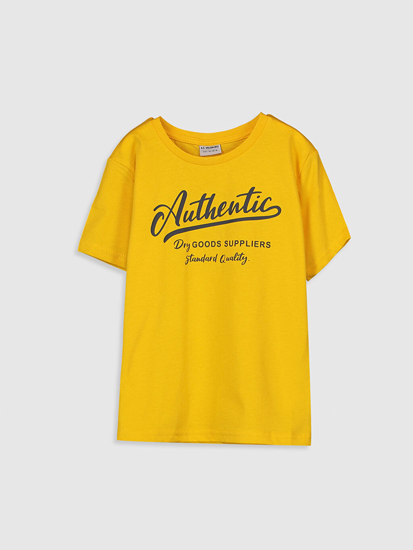 Sarı Erkek Çocuk Yazı Baskılı Pamuklu Tişört 0S0739Z4 LC Waikiki