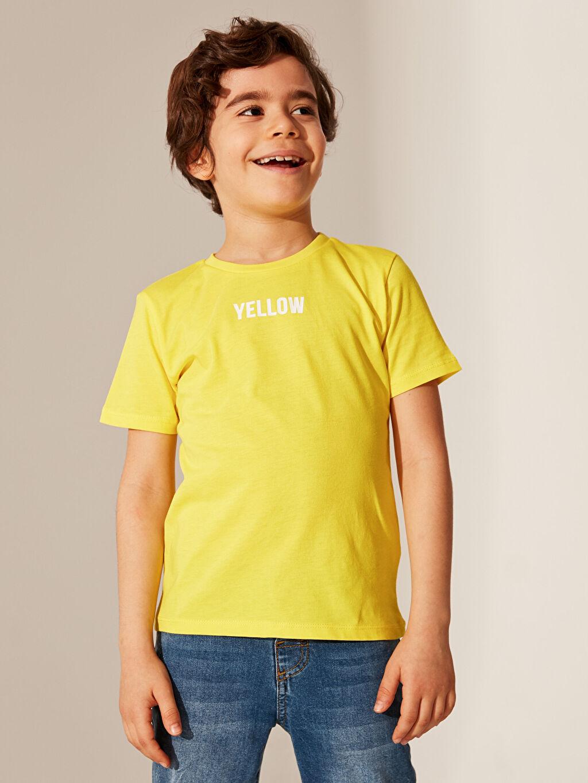 Sarı Erkek Çocuk Pamuklu Basic Tişört 0S0741Z4 LC Waikiki