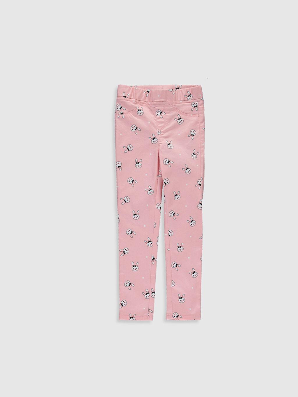 Pembe Kız Çocuk Desenli Skinny Pantolon 0S1524Z4 LC Waikiki