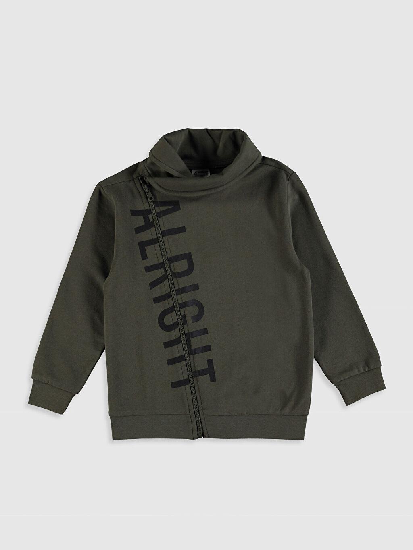 Haki Erkek Çocuk Fermuarlı Sweatshirt 0S1546Z4 LC Waikiki