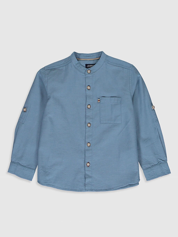 Mavi Erkek Çocuk Pamuklu Uzun Kollu Gömlek 0S1556Z4 LC Waikiki