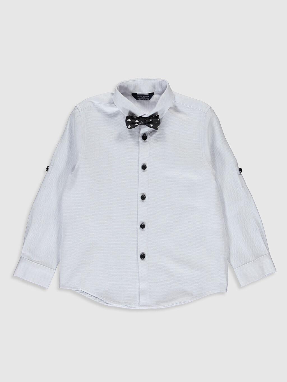%60 Pamuk %40 Polyester %96 Poliester %4 Metalik iplik Orta Kalınlık Gömlek Standart Gömlek Yaka Uzun Kol Düz Papyon Erkek Çocuk Gömlek ve Papyon