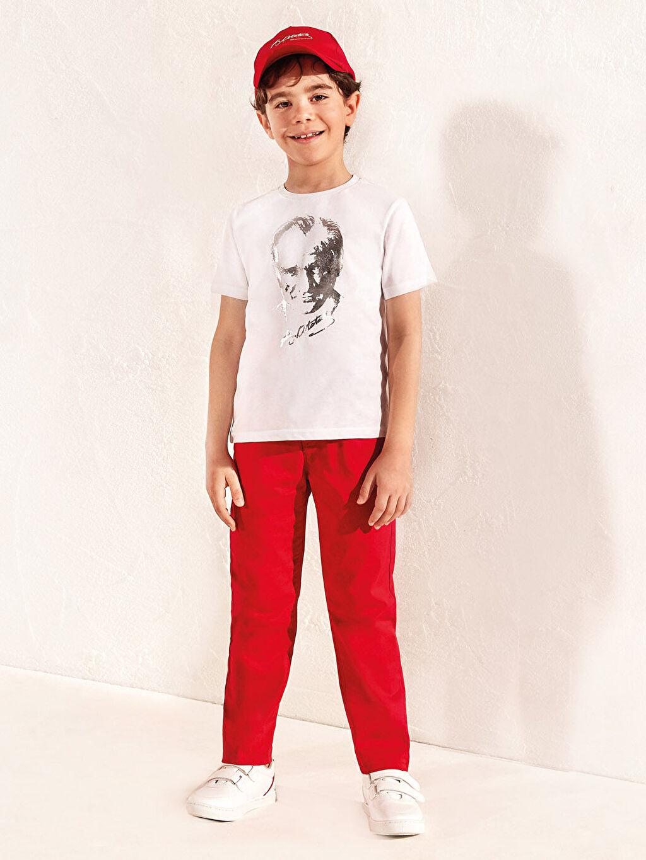 %97 Pamuk %3 Elastan Erkek Çocuk Slim Gabardin Pantolon