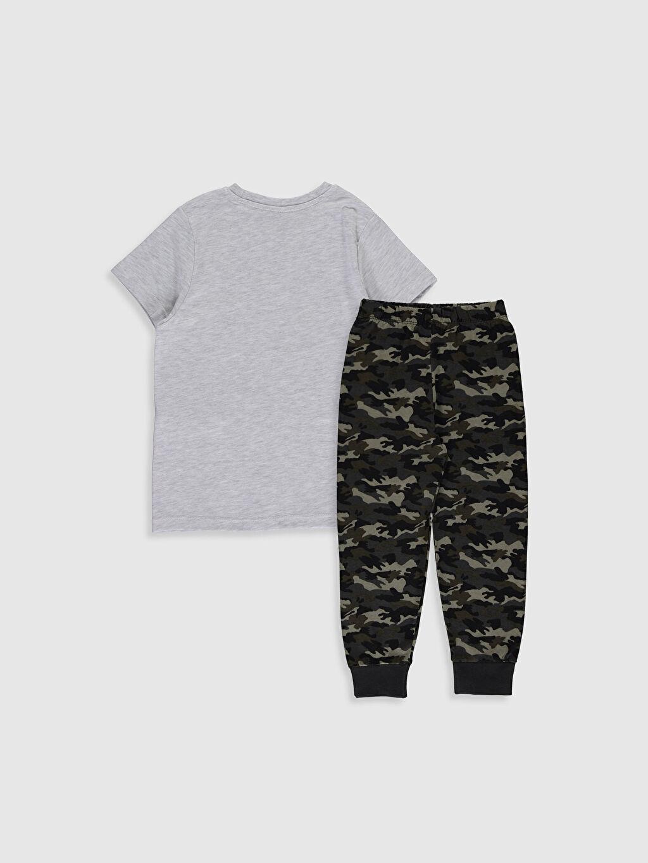 %100 Pamuk Penye Standart Pijama Takım Günlük %100 Pamuk Kısa Kol İnce Erkek Çocuk Kamuflaj Desenli Pamuklu Pijama Takımı