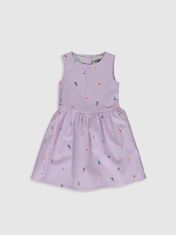 Lila Kız Çocuk Baskılı Poplin Elbise 0S2440Z4 LC Waikiki