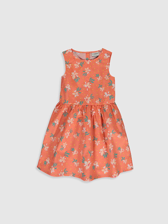 Turuncu Kız Çocuk Baskılı Poplin Elbise 0S2440Z4 LC Waikiki
