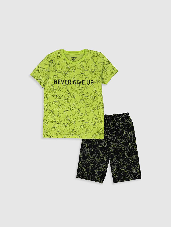 Yeşil Erkek Çocuk Baskılı Pamuklu Pijama Takımı 0S2653Z4 LC Waikiki