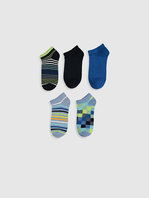 %78 Pamuk %20 Poliamid %2 Elastan Baskılı Patik Çorap Dikişli Erkek Çocuk Patik Çorap 5'li