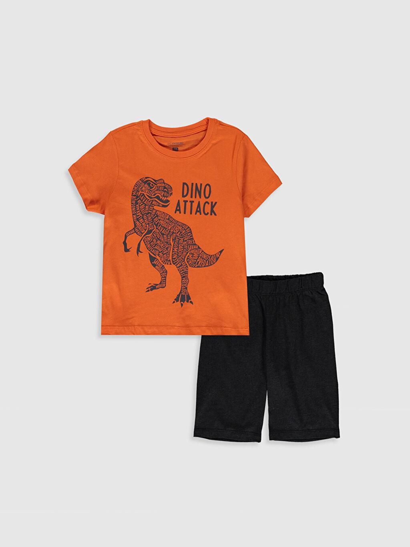 Turuncu Erkek Çocuk Baskılı Pamuklu Pijama Takımı 0S3097Z4 LC Waikiki