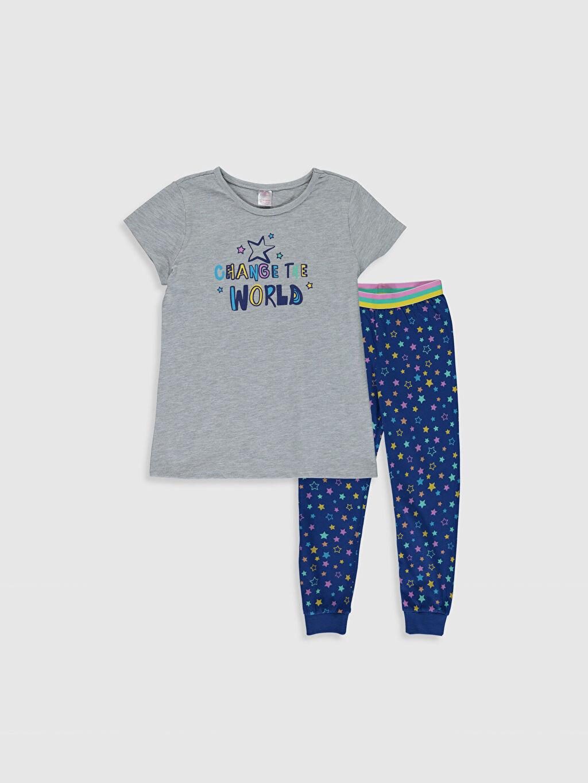 Gri Kız Çocuk Baskılı Pijama Takımı 0S3114Z4 LC Waikiki