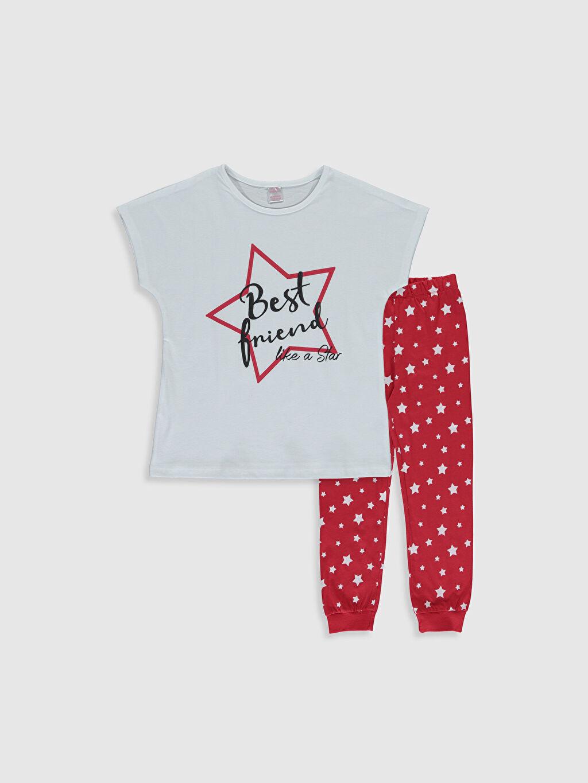 Beyaz Kız Çocuk Baskılı Pamuklu Pijama Takımı 0S3126Z4 LC Waikiki