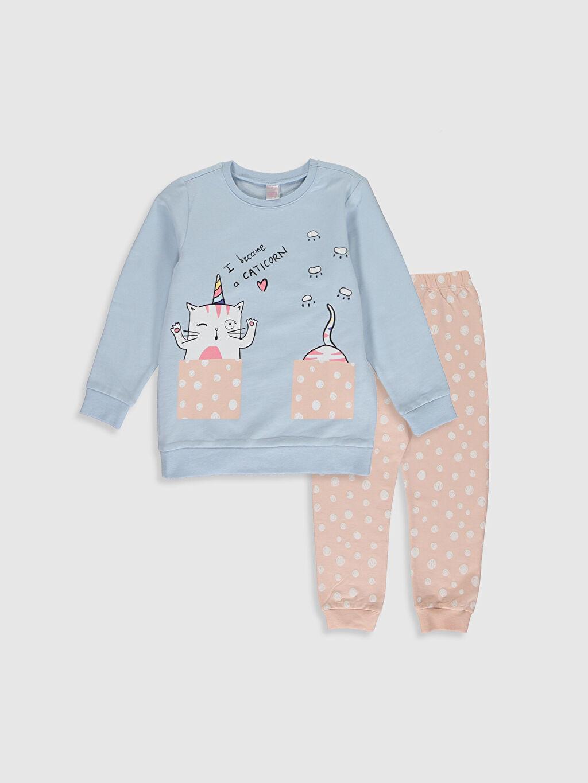 Mavi Kız Çocuk Baskılı Pamuklu Pijama Takımı 0S3141Z4 LC Waikiki