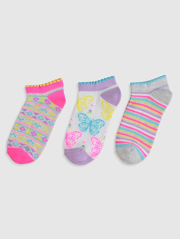 %25 Pamuk %11 Poliester %37 Poliamid %25 Akrilik %2 Elastan Günlük Orta Kalınlık Patik Çorap Kız Çocuk Patik Çorap 3'lü