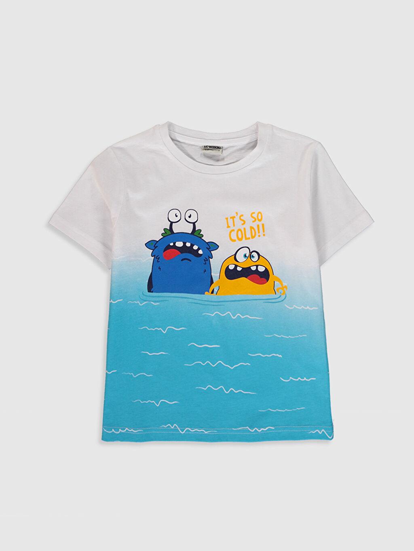 Beyaz Erkek Çocuk Baskılı Pamuklu Tişört 0S4051Z4 LC Waikiki