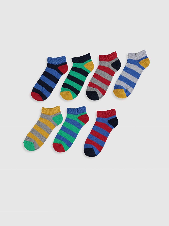 %86 Pamuk %12 Poliamid %2 Elastan Patik Çorap Dikişli Çizgili Erkek Çocuk Patik Çorap 7'li
