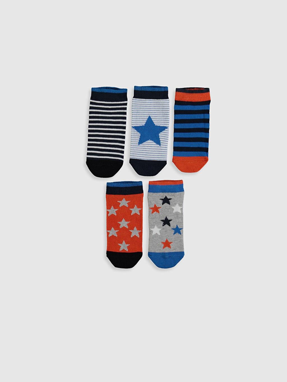 %77 Pamuk %1 Polyester %20 Poliamid %2 Elastan Kendinden Desenli Dikişli Patik Çorap Erkek Çocuk Patik Çorap 5'li