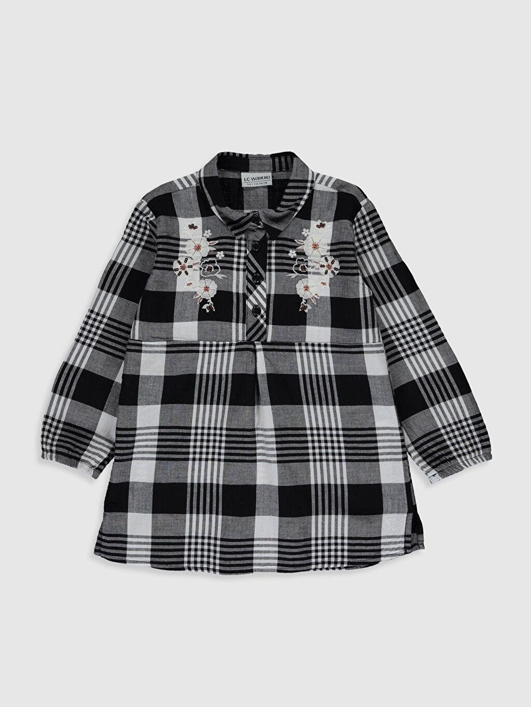 Siyah Kız Çocuk Çiçek Nakışlı Ekose Bluz 0S4423Z4 LC Waikiki
