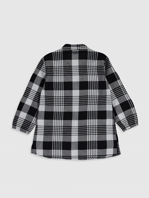 %99 Pamuk %1 Elastan Bluz Uzun Kol Poplin Ekose Standart Gömlek Yaka Aksesuarsız İnce Kız Çocuk Çiçek Nakışlı Ekose Bluz