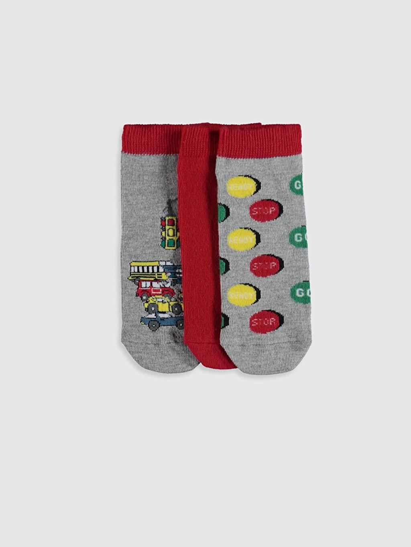 Çok Renkli Erkek Çocuk Patik Çorap 3'lü 0S4477Z4 LC Waikiki