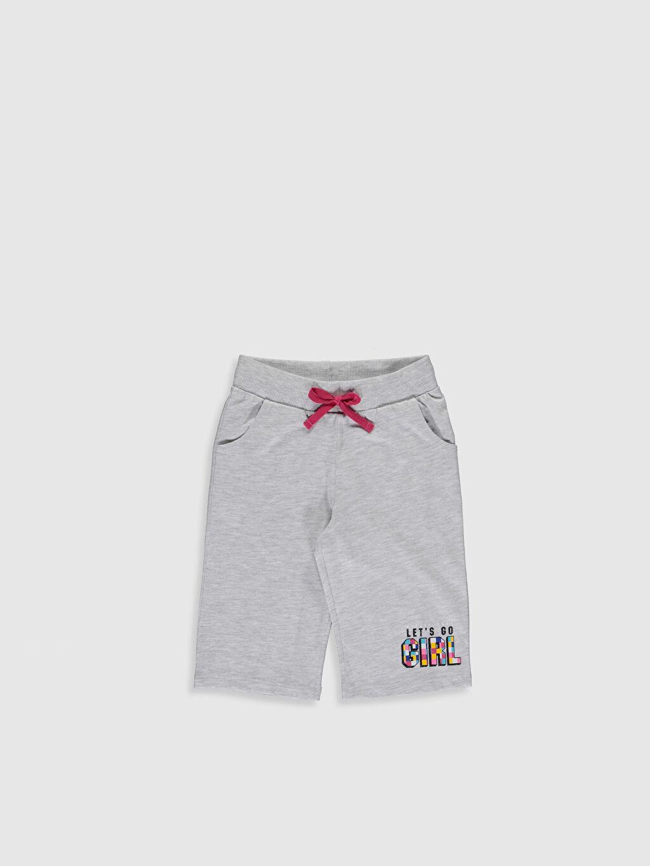 Gri Kız Çocuk Baskılı Şort 0S4989Z4 LC Waikiki