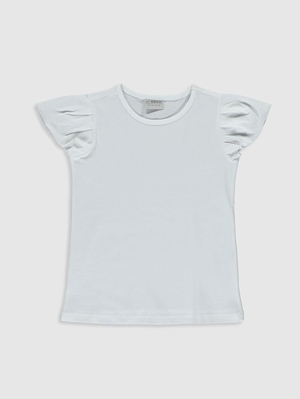 Beyaz Kız Çocuk Pamuklu Basic Tişört 0S4994Z4 LC Waikiki