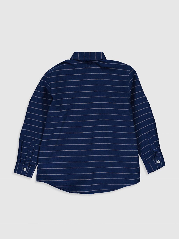 %100 Pamuk İnce Poplin Çizgili Standart Uzun Kol Aksesuarsız Gömlek %100 Pamuk Erkek Çocuk Çizgili Poplin Gömlek