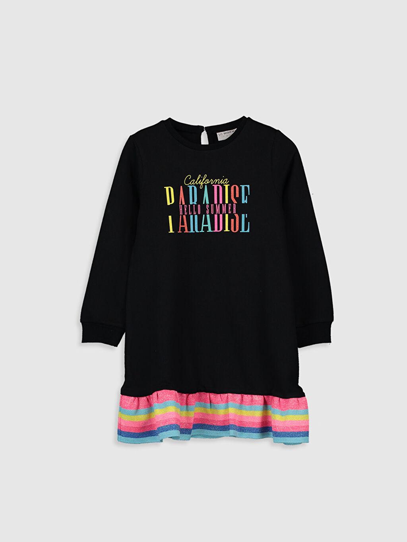 Siyah Kız Çocuk Baskılı Sweatshirt Elbise 0S5206Z4 LC Waikiki