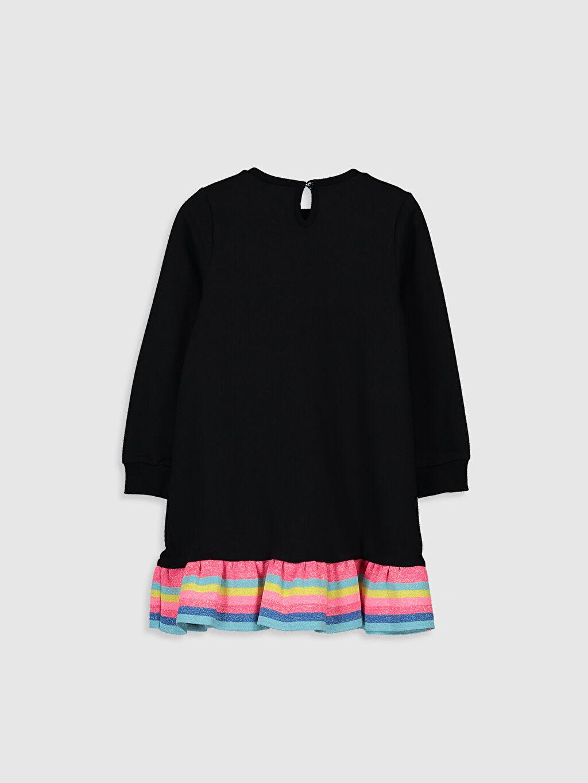 %82 Pamuk %18 Polyester Orta Kalınlık Elbise İki İplik Baskılı Diz Üstü Uzun Kol Kız Çocuk Baskılı Sweatshirt Elbise