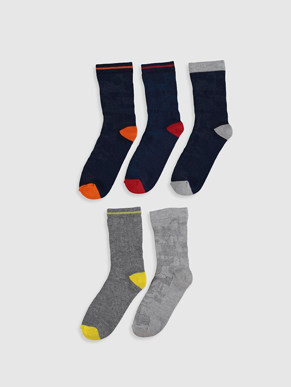 %74 Pamuk %24 Poliamid %2 Elastan Soket Çorap Kendinden Desenli Dikişli Erkek Çocuk Soket Çorap 5'li