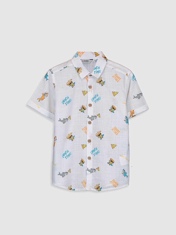 %100 Pamuk İnce Aksesuarsız Gömlek Standart Baskılı Kısa Kol %100 Pamuk Erkek Çocuk Desenli Gömlek