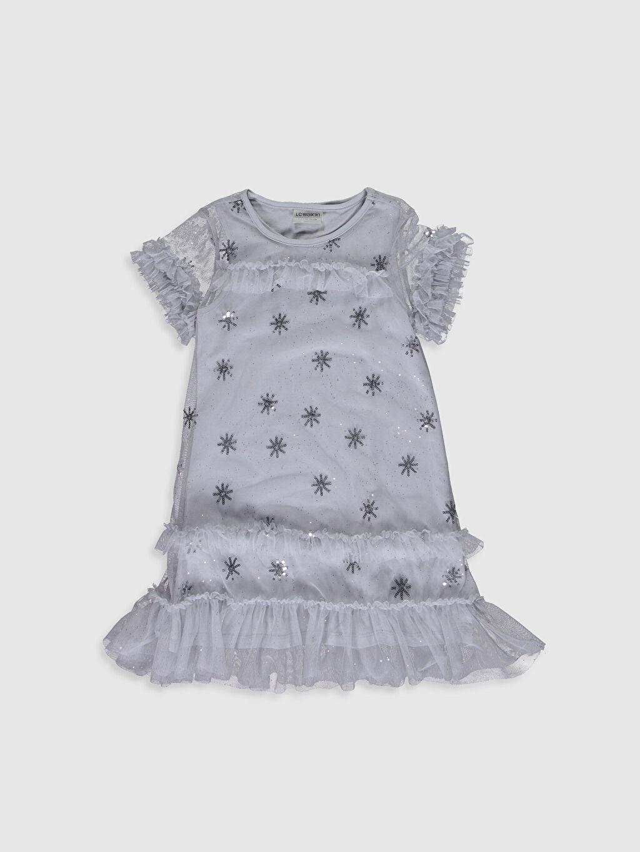 Gri Kız Çocuk Pul İşlemeli Tüllü Elbise 0S5439Z4 LC Waikiki