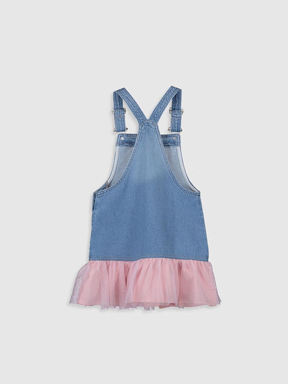 %100 Pamuk %100 Pamuk Jean Elbise Düz Aksesuarsız Kolsuz Kız Çocuk Pul İşlemeli Fırfırlı Jean Salopet
