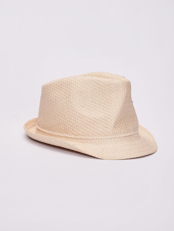 Kız Çocuk Kız Çocuk Çiçek Nakışlı Hasır Şapka