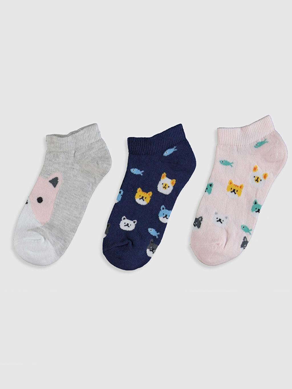%55 Pamuk %16 Polyester %27 Poliamid %2 Elastan Günlük Orta Kalınlık Patik Çorap Kız Çocuk Patik Çorap 3'lü