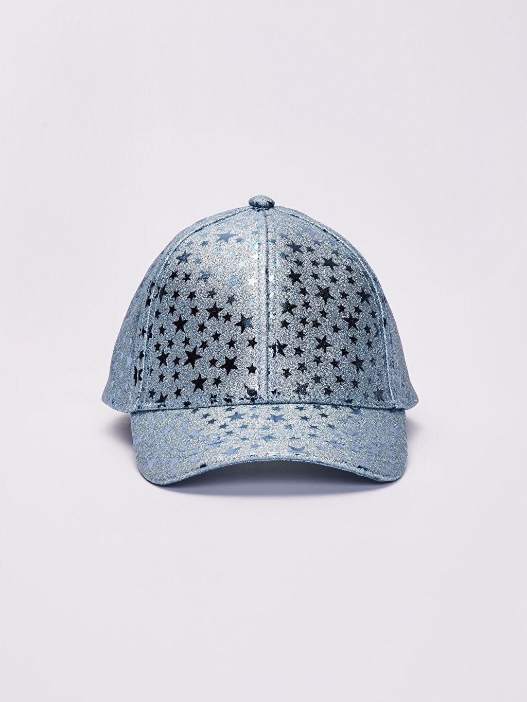 %100 Polyester Şapka İnce Sweatshirt Kumaşı Kep Astarsız Kız Çocuk Yıldız Detaylı Hologram Şapka