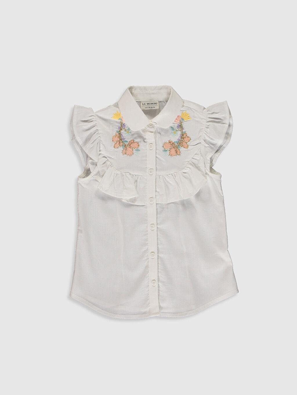 Beyaz Kız Çocuk Nakışlı Fırfır Detaylı Gömlek 0S9222Z4 LC Waikiki
