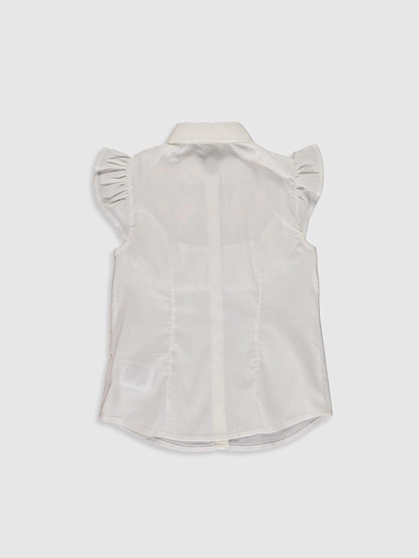 %66 Pamuk %30 Polyester %4 Elastan  Kız Çocuk Nakışlı Fırfır Detaylı Gömlek