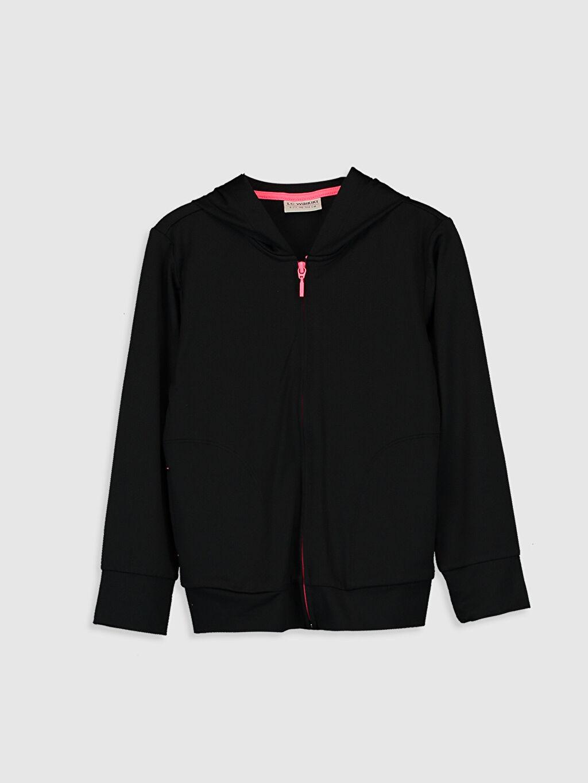 Siyah Kız Çocuk Fermuarlı Kapüşonlu Sweatshirt 0S9246Z4 LC Waikiki