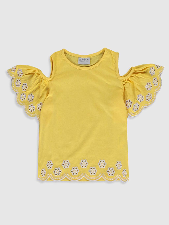 Sarı Kız Çocuk Omuzu Açık Pamuklu Tişört 0SG022Z4 LC Waikiki