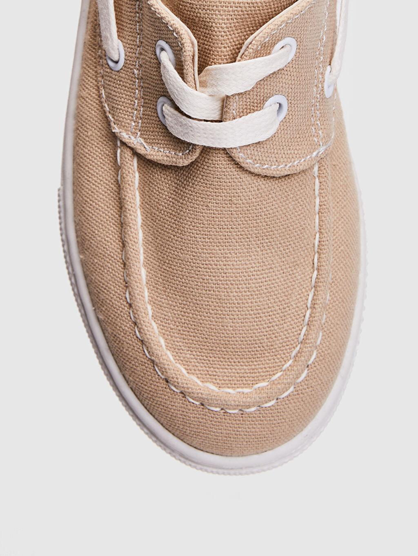 Bej Erkek Çocuk 25-30 Numara Bağcıklı Bez Ayakkabı