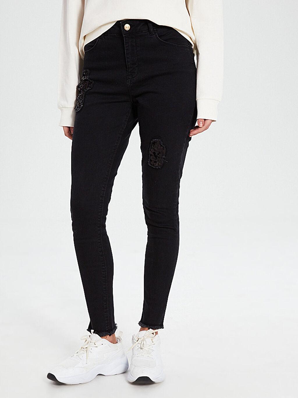 %97 Pamuk %3 Elastan Astarsız Skinny Jean Düz Dar Paça Aksesuarsız Normal Bel Aile Koleksiyonu İşlemeli Skinny Jean Pantolon