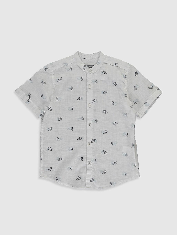 Beyaz Erkek Çocuk Desenli Poplin Gömlek 0SG840Z4 LC Waikiki
